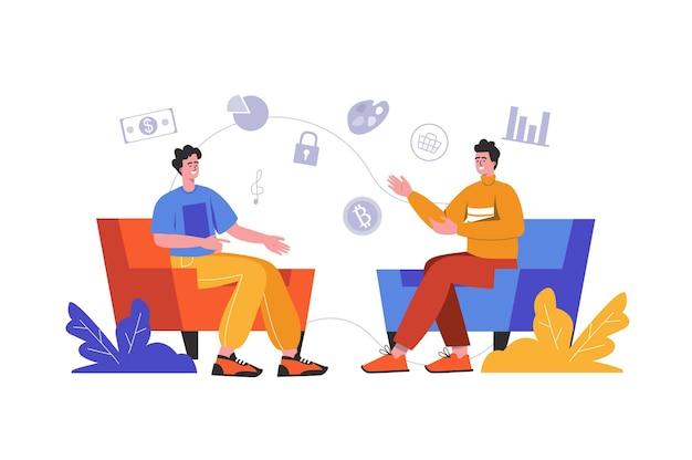 人々はさまざまなトピックについてコミュニケーションします。男性は友好的に話し、肘掛け椅子に座ってアイデアについて話し合い、シーンは孤立しています。友情会話の概念。フラットミニマルデザインのベクトル図