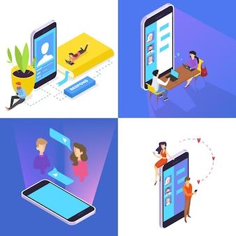 사람들은 스마트 폰 세트를 사용하여 소셜 네트워크를 통해 친구들과 소통합니다. 인터넷 중독. 격리 된 벡터 분해 그림