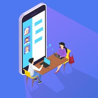 사람들은 스마트 폰 세트를 사용하여 소셜 네트워크를 통해 친구들과 소통합니다. 인터넷 중독. 러브 채팅. 아이소 메트릭 그림