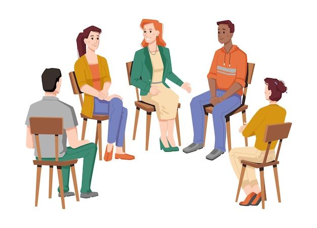 그룹 치료에서 의사 소통하는 사람들은 서로 다른 인종의 남성과 여성의 고립 된 원을 이야기합니다.