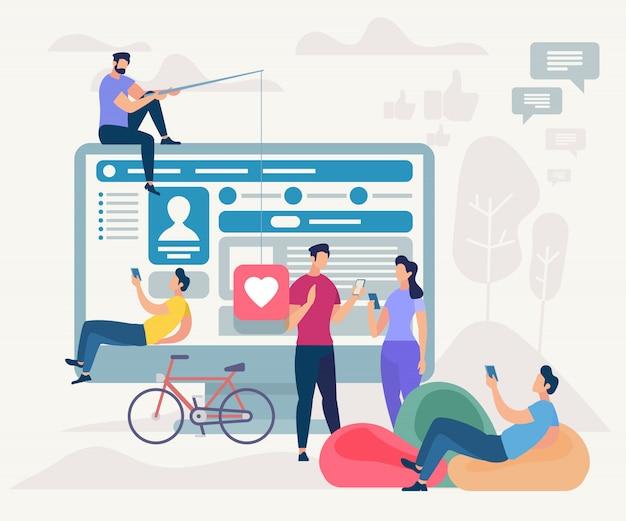 People communicating via internet using mobile app