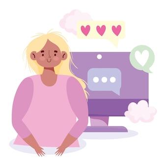 Люди, общение и технологии, девушка компьютерные текстовые сообщения пузыри