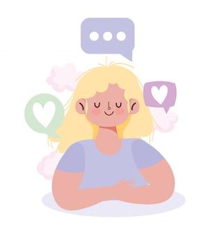 人とのコミュニケーションとテクノロジー、若い女性の会話の泡は感情を愛する