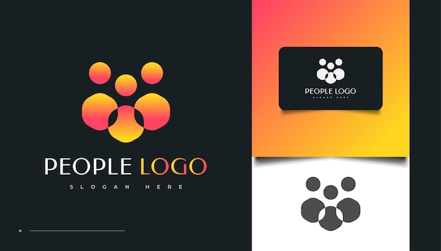 人、コミュニティ、家族、ネットワーク、クリエイティブハブ、グループ、ソーシャルコネクションのロゴまたはビジネスアイデンティティのアイコン