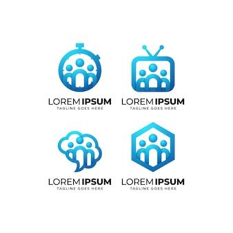 People and community logo design set