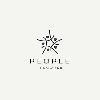 People community team work diversity logo icon design template flat vector illustration
