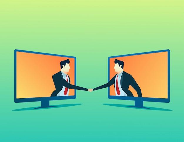 People concept illustration two businessman online deal