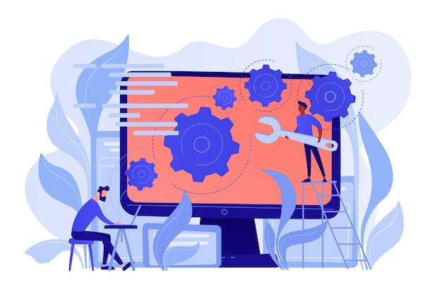 人々はギアを備えた大きなlcd画面上でアプリケーションを構成しますバックエンド開発それの概念