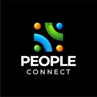人々はグラデーションカラーのロゴデザインを接続します