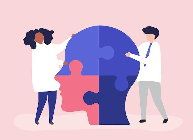 머리의 퍼즐 조각을 연결하는 사람들