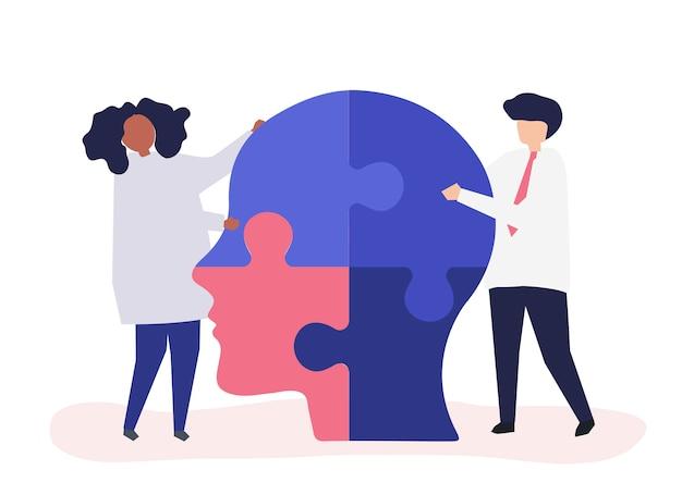Люди, соединяющие кусочки головы вместе
