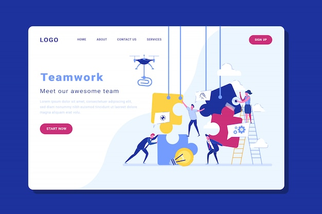 People connecting puzzle elements landing page