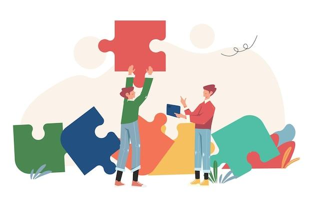 퍼즐 요소, 팀워크, 협력, 파트너십의 상징을 연결하는 사람들