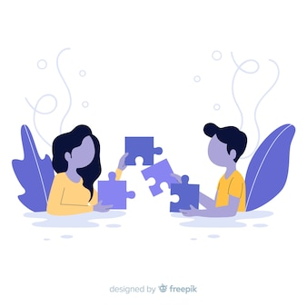 People connecting puzzle pieces background