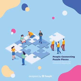 퍼즐 조각 배경을 연결하는 사람들