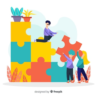 People connecting puzzle pieces colorful background