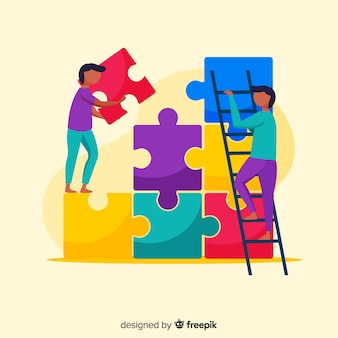 People connecting puzzle pieces illustration