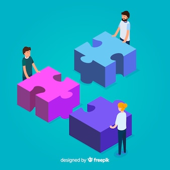 People connecting puzzle pieces isometric background
