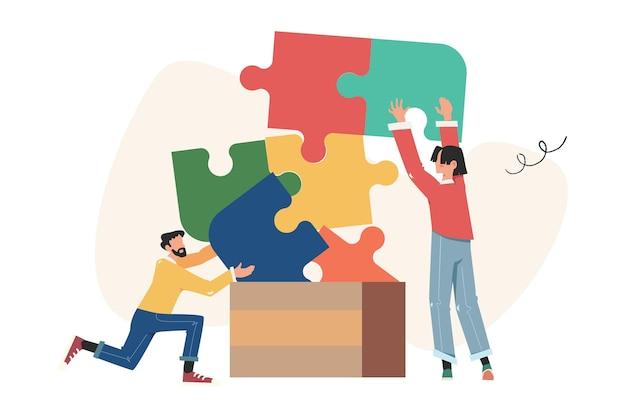 팀워크, 협력, 협력의 무작위 퍼즐 요소 기호를 연결하는 사람들