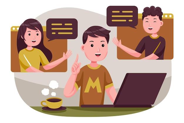 사람들이 함께 연결하고, 원격 회의를 통해 온라인 회의, 랩톱 컴퓨터에서 원격으로 작업하는 화상 회의.