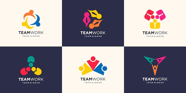 People connection concept of teamwork and great work logo design