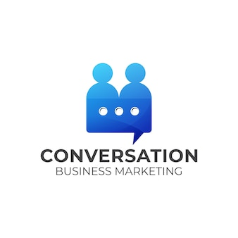 People conversation logo, marketing, service logo design, template