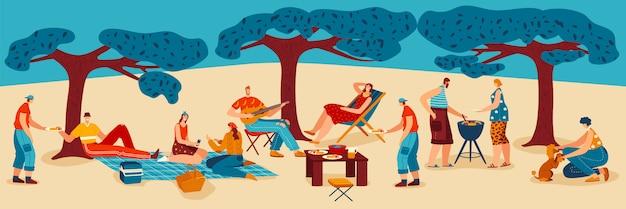 Люди готовят мясо барбекю на природе, семья готовит барбекю вечеринку, парк пейзаж мультфильм иллюстрации.