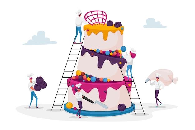 Люди готовят праздничный торт со сливками и ягодами