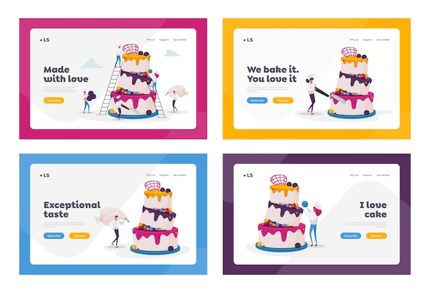 People cook festive cake with cream and berries landing page template set