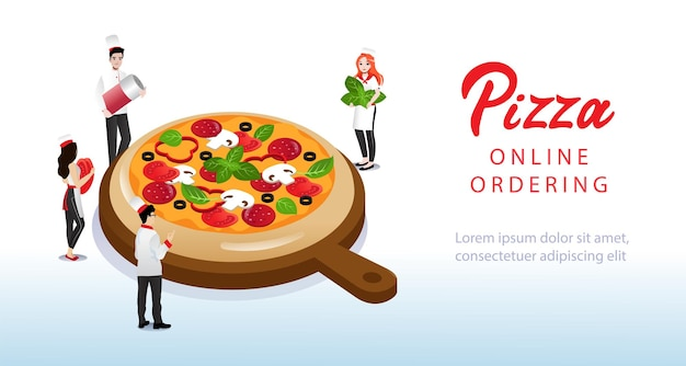 人々はピザを調理します。ウェブサイトのランディングページ。