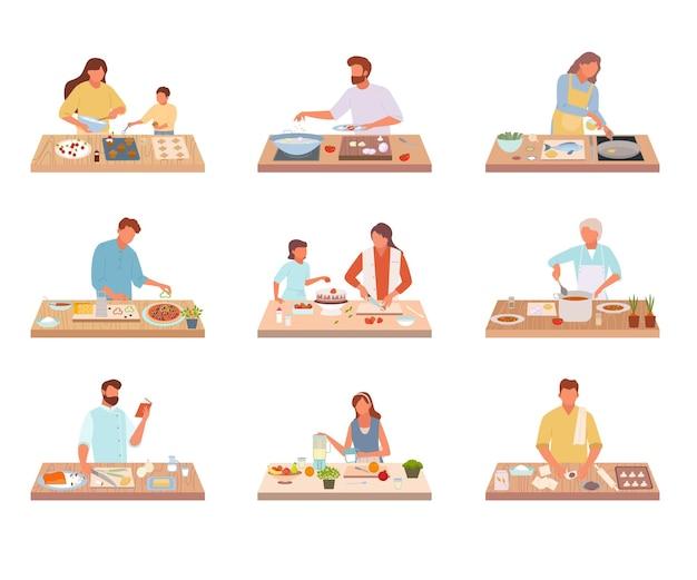 사람들은 맛있는 음식 세트를 요리