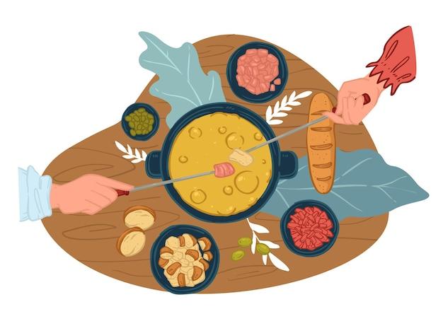 중국 냄비를 요리하고 먹는 사람들. 꼬치를 사용하여 테이블에 재료를 끓인 친구들. 레스토랑 요리, 데이트 상대의 저녁 또는 점심. 소스와 빵. 평면 스타일의 벡터