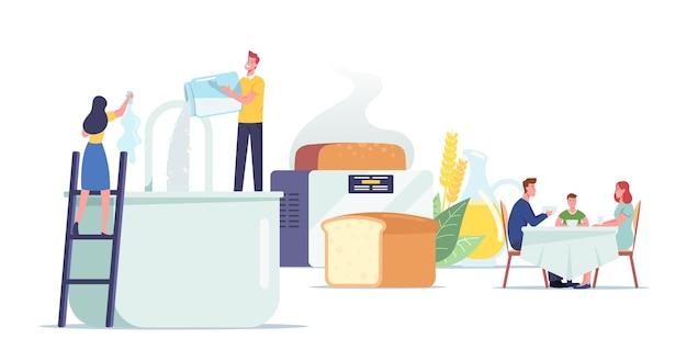 신선한 빵집 개념을 요리하고 먹는 사람들. 작은 남성과 여성 캐릭터는 집에서 만든 빵을 요리하고 재료를 거대한 믹서와 베이커, 가족 식사에 붓습니다. 만화 사람들 벡터 일러스트 레이 션