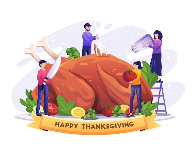 추수 감사절 벡터 삽화에 거대한 칠면조를 요리하고 즐기는 사람들