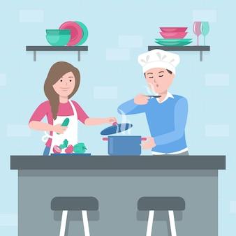 Люди готовят дома