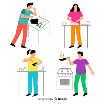 People cooking collection