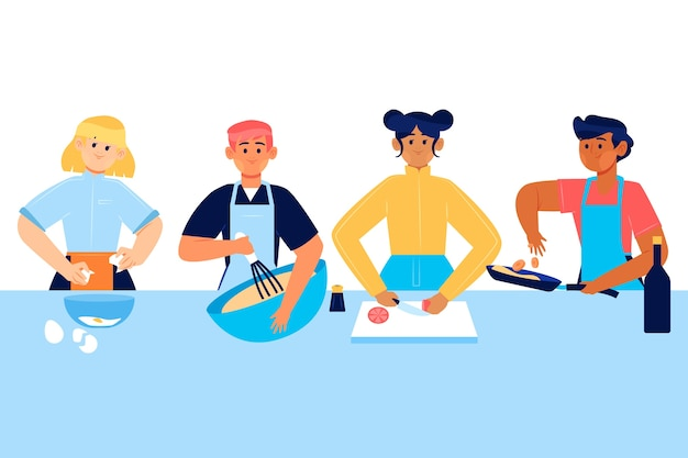 People cooking concept