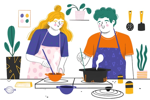 사람들이 요리 개념