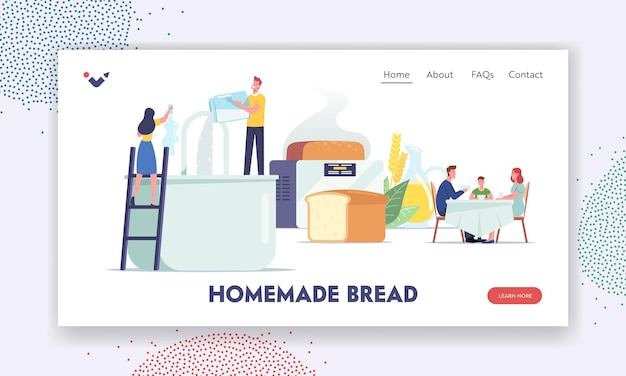People cooking and eating fresh bakery landing page template. tiny characters cook homemade bread pouring ingredients into huge mixer and baker, family dining. cartoon people vector illustration