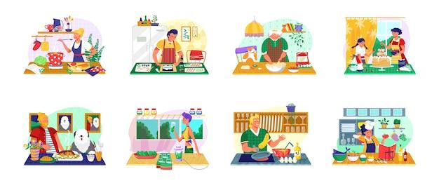 Люди готовят пищу набор иллюстраций