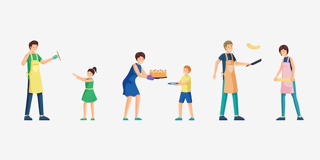 People cooking food  illustration set.