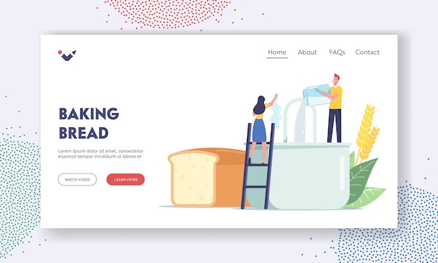 People cooking fresh bakery at home landing page template. tiny characters cook homemade bread pouring ingredients and flour in huge mixer. culinary food preparing process. cartoon vector illustration