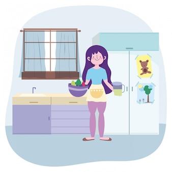 부엌 그림에서 그릇과 주스 항아리와 요리, 소녀