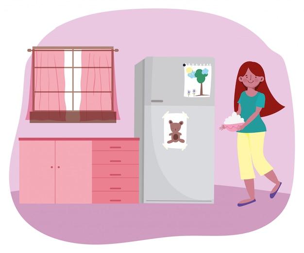 Люди приготовления пищи, девушка с миской, наполненной едой на кухне иллюстрации
