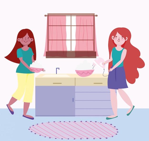 Люди готовят, девушки с миксером, кремом и миской на кухне