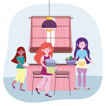 Люди готовят, девушки с соком, баночка с овощами и сливками на кухне