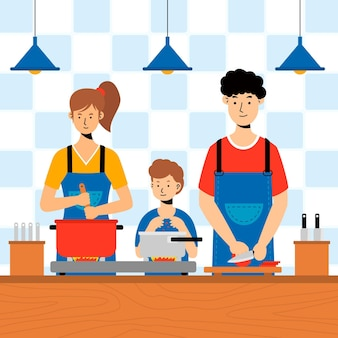 People cooking illustrated concept
