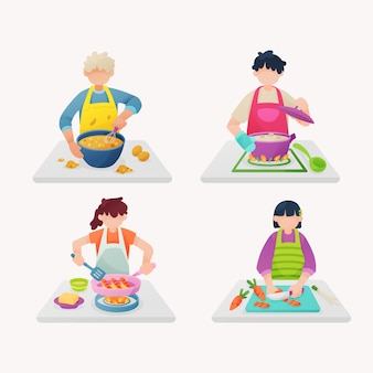 People cooking illustration collection