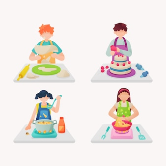 People cooking illustration pack