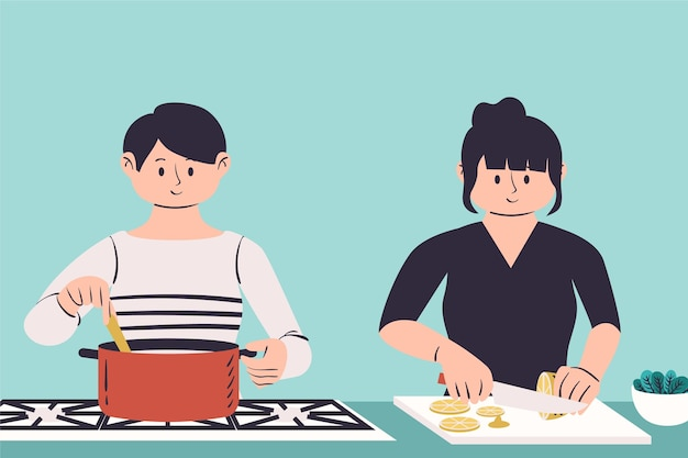 People cooking illustration